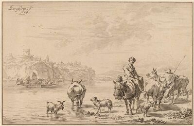 Cornelis Ploos van Amstel and Johannes Kornlein after Nicolaes Pietersz Berchem, 'Woman Seated on a Mule', 1769