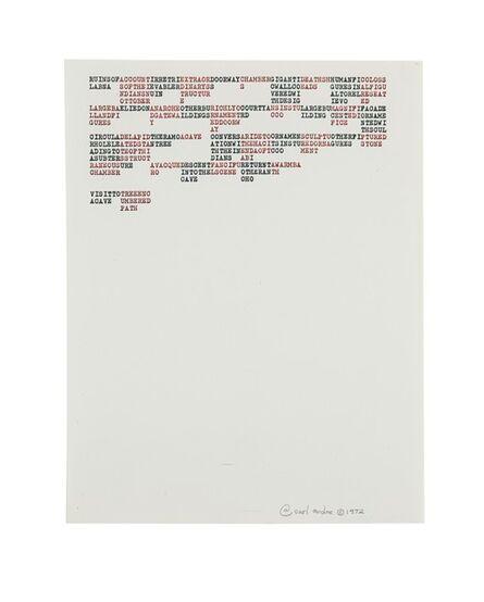 Carl Andre, 'RUINSOFACCOUNTIRRETRIEXTRAORDOORWAYCHAMBERGIGANTIDEATHSHHUMANFICOLOSS', 1975