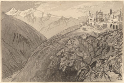 Edward Lear, 'A Town on a Hilltop (Sanctuary of Lampedusa)', 1884/1885