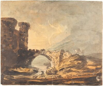 William Payne, 'Landscape with a Castle and Bridge'