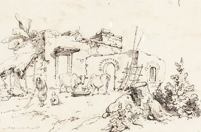 George Chinnery, 'A Village Scene in India [verso]', 1814/1824