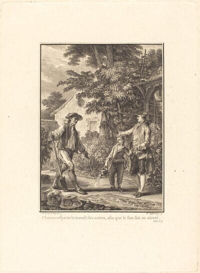 Pierre-Philippe Choffard after Jean-Michel Moreau, 'Chacun respecte le travail des autres, afin que le sien soit en sûreté', 1777/1779