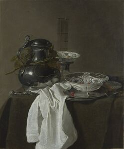 Jan Jansz. Treck, 'Still Life with a Pewter Flagon and two Ming Bowls', 1651