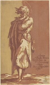 John Skippe after Parmigianino, 'Male Saint Standing, with Folded Arms, Facing to the Left', 1781