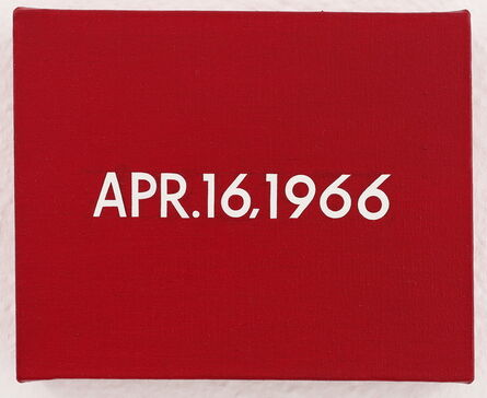"""On Kawara, 'APR.16,1966 """"2.500 demonstrators in Da Nang burned today a copy of premier Ky's decree promising South Vietnam an elected civilian government""""', 1966"""