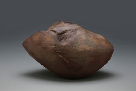 Kaneta Masanao, 'Horizontal, scooped-out, diamond-shaped sculptural vessel with rounded body, jagged rim and Hagi kohiki glaze in naturalistic tones of brown, gray and rust ', 2014