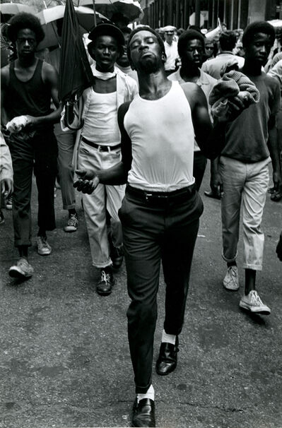 James Jowers, 'N. Orleans [Man strutting down the street followed by 4 other men]', 1970