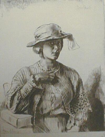 Gerald Leslie Brockhurst, 'Le Casaquin De Laine (The Linen Jacket)', 1923-1924