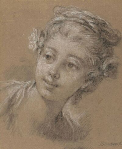 François Boucher, 'Head of a young girl'