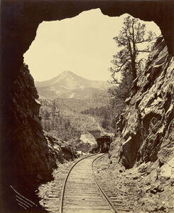 William Henry Jackson, 'Cameron's Cone from Tunnel 4, Colorado Midland Railway', 1879
