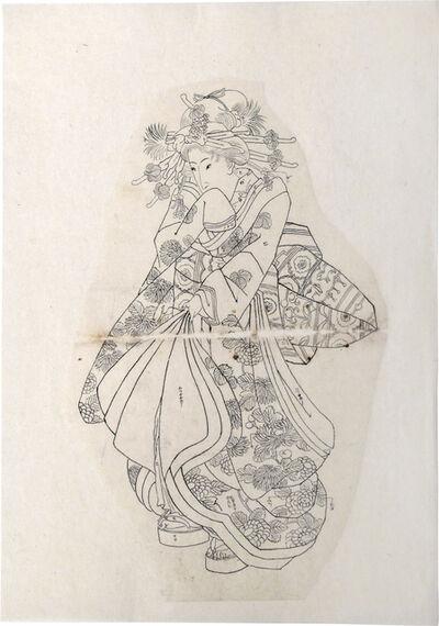 Utagawa Kuniyoshi, 'Preparatory Drawing of a Walking Beauty', ca. 1830