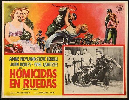 Anon, 'MOTORCYCLE GANG Mexican LC 1957 c/u of biker punk wielding knife as scared girls watch!', 1957