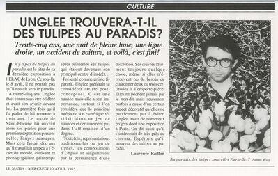 Unglee, 'Unglee trouvera-t-il des tulipes au paradis ? Paris 1993', 1995