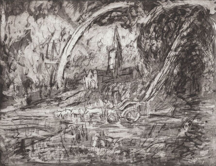 Leon Kossoff, 'From Constable 'Salisbury Cathedral from the Meadows'', 1988