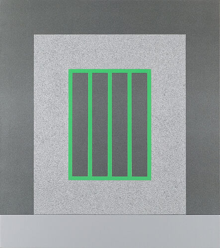 Peter Halley, 'Silver Prison with Green Bars', 2007
