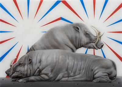 Sam Leach, 'Babirusas with wall painting', 2015