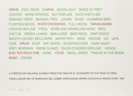 Hamish Fulton, 'At Thirteen Day Walking Journey from the Train at El Divisadero to the Train at Creel', 1987