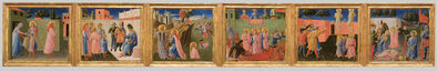 Fra Angelico, 'Predella from the Annalena altarpiece: Six Scenes from the Life of Cosmas and Damian', About 1434
