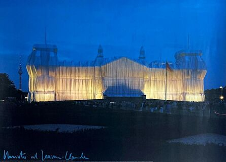 Christo, 'Wrapped Reichstag at Night (Hand Signed)', 1995