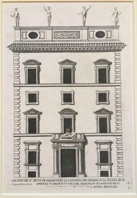 Pietro Ferrerio, 'Palazzo de SS Muti de Paparzzurri, la facciata che guardia su la Plazza de SS Apostoli….. Plate 42 from Palazzi di Roma de Piu Celebri Architetti, vol I', 1655