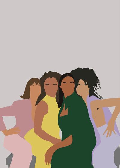 Samantha Viotty, 'Together- Digital Illustration of Women - Feminism - Multiculturalism - Green+Yellow+Pink ', 2019