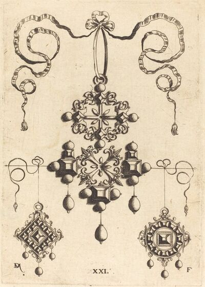 Daniel Mignot, 'Pendant with Wheel at Centre, Surrounded by Four Table-Stones'