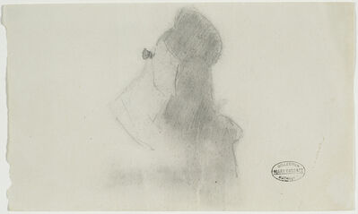 """Mary Cassatt, ' WOMAN WITH OPERA GLASSES (STUDY FOR """"AT THE OPERA"""").', ca. 1878"""