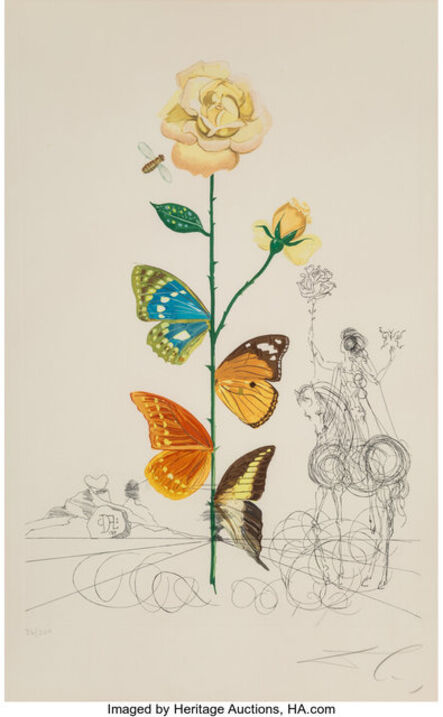 Salvador Dalí, 'Rosa papillo, from Flora Dallinae', 1968