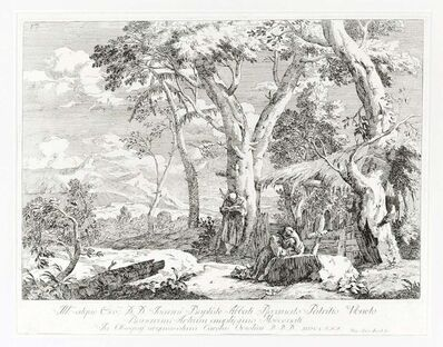 Marco Ricci, 'Landscape With Two Hermits', 1730