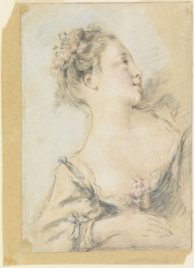 François Boucher, 'Bust of a young girl', ca. 1700s