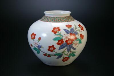 Sakaida Kakiemon XIV, 'Nigoshide white vase  with cherry blossom patterns', 2012