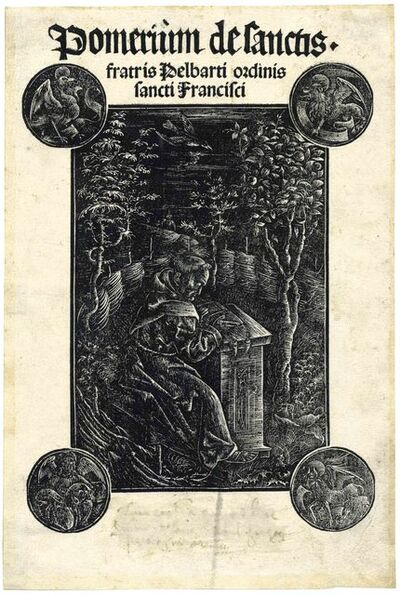 DANIEL HOPFER, 'The Franciscan Monk Frater Ossváld Pelbárt Reading in a Garden', 1502