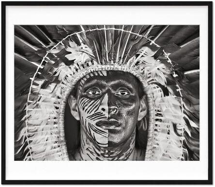 Sebastião Salgado, 'Sebastião Salgado. Amazônia. Limited & Signed Black and White Fine Art Print (1-100) 'Adão Yawanawá in a headdress of eagle feathers'', 2017 (Book 2021)