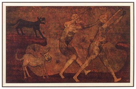 Rufino Tamayo, 'Dos Personajes Atacados Por Perros', 1983