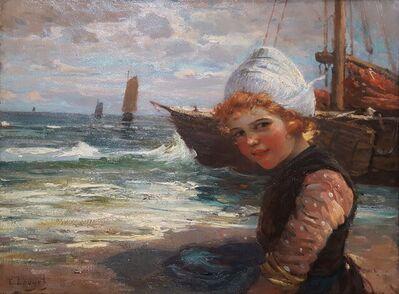 Edmond Louyot, 'Dutch Girl with Fishing Boats', ca. 1900