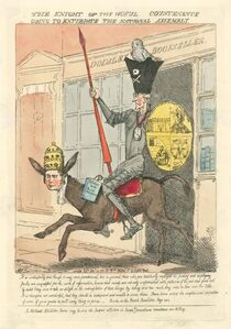 FREDERICK GEORGE BYRON, 'Iconic caricature of Burke riding to battle with The French Revolution'