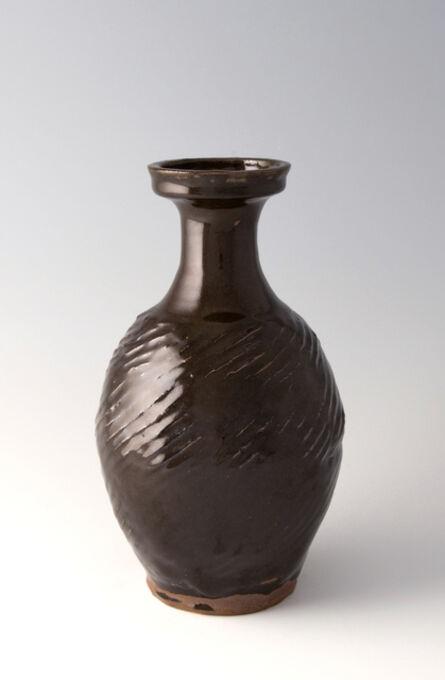 Shōji Hamada, 'Textured bottle, black glaze', 1930