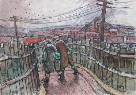 Norman Cornish, 'Men and train going to work'
