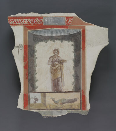 'Fresco Depicting a Woman (Maenad?) Holding a Dish, Peacock and Fruit Below',  1st century