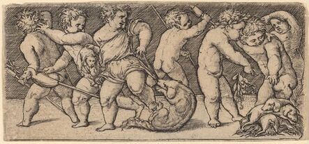 Master of the Horse Heads, 'Children Playing with a Bitch  and Three Young Dogs'