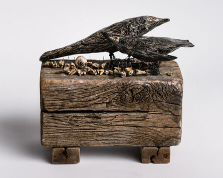 Elizabeth Jordan, 'Sculpture of black birds on wood base with body parts: 'When the grackles took over'', 2020