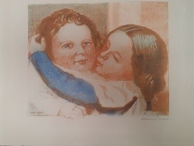 Maurice Denis, 'Children kissing or Claire and Paul, 1940, lithograph signed and justified in pencil', 1940