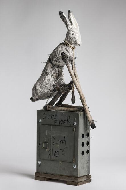 Elizabeth Jordan, 'Sculpture of Rabbit sitting on electrical box: 'Federal Pacific'', 2018