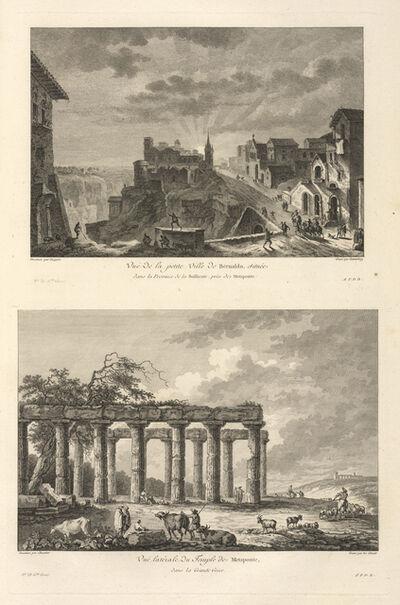 Jean Claude Richard de Saint-Non (author), 'Vu‰ lat'rale du Temple de M'taponte, dans la Grande Grˆce ; Vu‰ de la petite Ville de Bernaldo, prŠs des Ruines de M'taponte', 1781