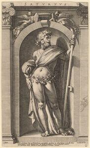 Hendrik Goltzius after Polidoro da Caravaggio, 'Saturn', 1592