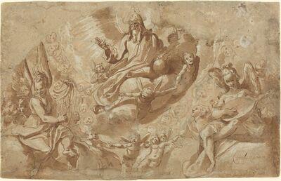 Raffaellino da Reggio (Raffaello Motta), 'God the Father and Angels on Clouds'