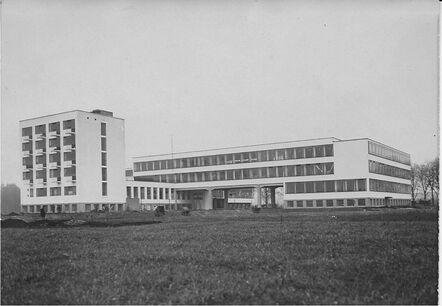 "Unknown Artist, 'Berliner Photothek: ""Blick auf Gropius-Bauhaus Bauten, Dessau"" (Views of the Gropius-Bauhaus Building, Dessau)', ca. 1926"