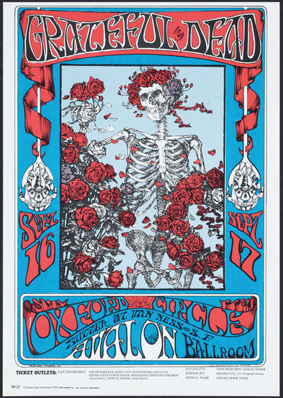 Alton Kelley, 'Skeleton and Roses', 1966