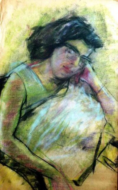 """Bikash Bhattacharjee, 'Sleeping Women, Dry Pastel on paper, Painting, Green, Black, Red by Indian Artist """"In Stock""""', 1962"""