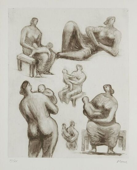 Henry Moore, 'Mother and Child Studies and Reclining Figure [CGM 452]', 1977